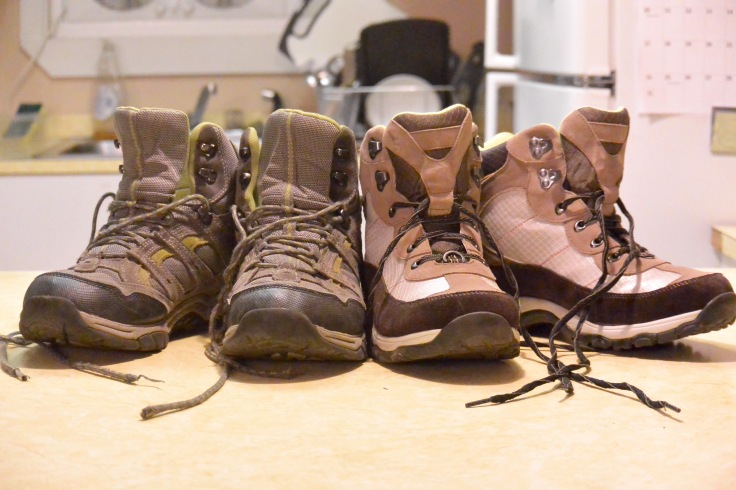 Our hiking boots now. I wonder how they will look at the end of the season?