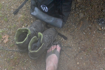 A soggy pack, wet boots, and a tired foot.