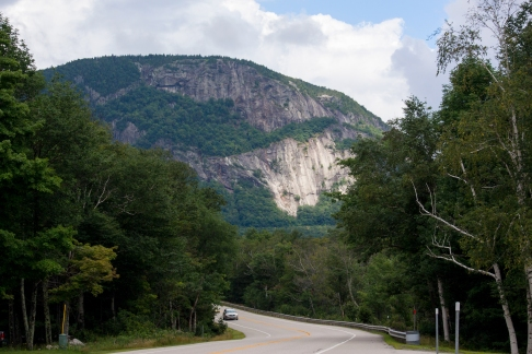 A ray of sun splashes on Crawford Notch in New Hampshire